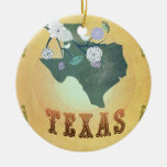 Vintage Texas State Map- Passion Fruit Yellow Ornament