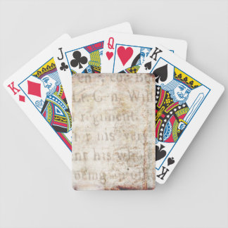 Vintage Text 1700 Background Paper Template Blank Bicycle Playing Cards