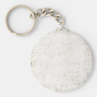 Vintage Text 1700 Background Paper Template Blank Keychain