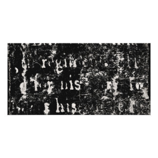 Vintage Text Black Background Paper Template Blank Photo Card