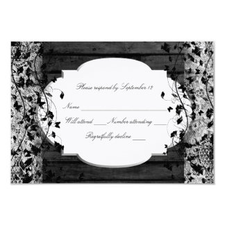 Vintage Text Black Wood Old Lace RSVP Card