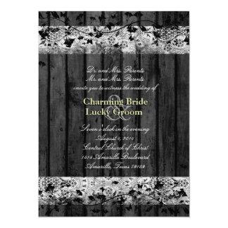 Vintage Text Black Wood Old Lace Wedding Invite