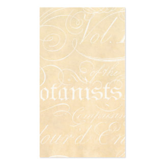 Vintage Text Botanist Parchment Paper Template Double-Sided Standard Business Cards (Pack Of 100)