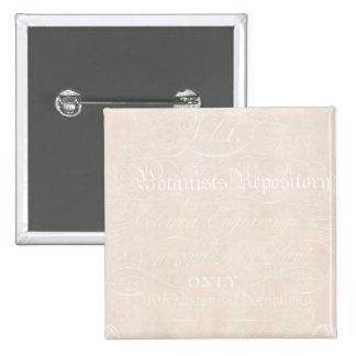 Vintage Text Botanist Parchment Paper Template Pinback Button