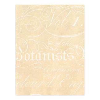 Vintage Text Botanist Parchment Paper Template Postcard