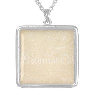 Vintage Text Botanist Parchment Paper Template Silver Plated Necklace