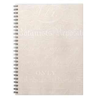 Vintage Text Botanist Parchment Paper Template Spiral Notebook