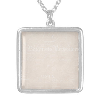 Vintage Text Botanist Parchment Paper Template Square Pendant Necklace