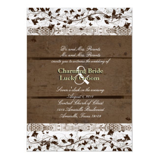 Vintage Text Brown Wood Old Lace Wedding Invite
