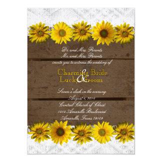 Vintage Text Brown Wood Sunflower Wedding Invite