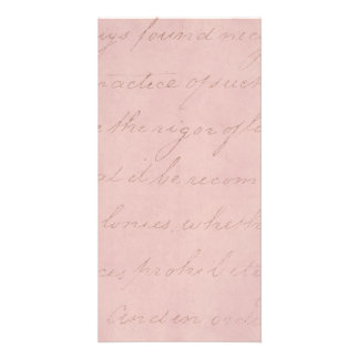 Vintage Text Colonial Rose Parchment Paper Customized Photo Card