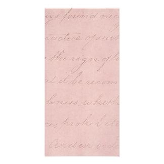 Vintage Text Colonial Rose Parchment Paper Photo Card