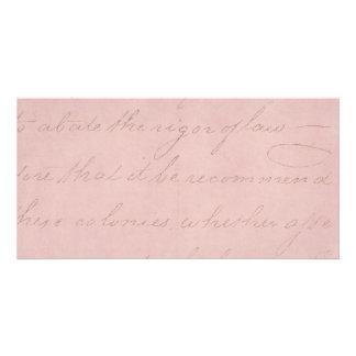 Vintage Text Colonial Rose Parchment Paper Photo Cards