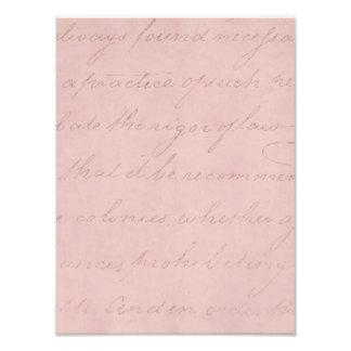 Vintage Text Colonial Rose Parchment Paper Photo Print