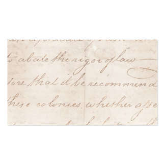 Vintage Text Colonial Script Parchment Paper Business Card