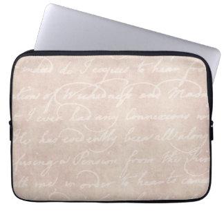 Vintage Text Colonial Script Parchment Paper Computer Sleeve
