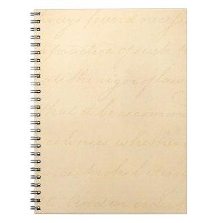 Vintage Text Colonial Script Parchment Paper Notebook