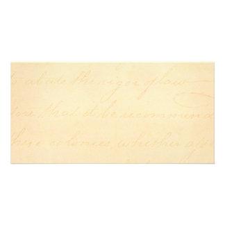 Vintage Text Colonial Script Parchment Paper Photo Card