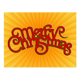Vintage Text Design: Merry Christmas Postcard