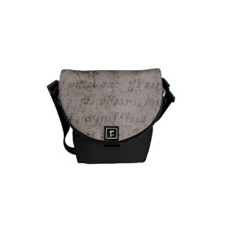 Vintage Text French Background Paper Template Courier Bag