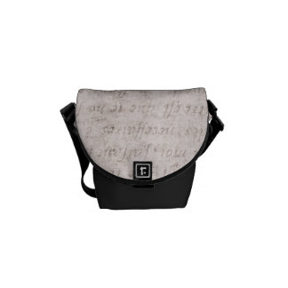 Vintage Text French Background Paper Template Messenger Bags