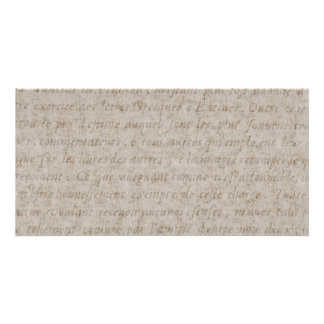 Vintage Text French Background Paper Template Photo Card