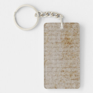 Vintage Text French Background Paper Template Single-Sided Rectangular Acrylic Keychain