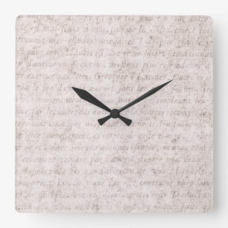 Vintage Text French Background Paper Template Square Wallclock