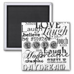 Vintage Text Life Advice Apparel and Gifts 2 Inch Square Magnet