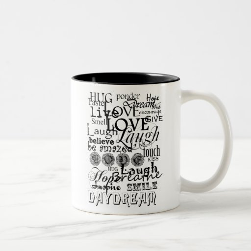Vintage Text Life Advice Apparel and Gifts Two-Tone Coffee Mug