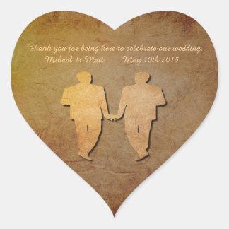 Vintage Texture Gay Wedding Heart Sticker