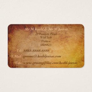 Vintage Texture Grooms Gay Wedding Business Card
