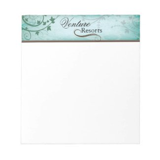 Vintage Texture Teal Note Paper with Leafy Swirls Memo Pad