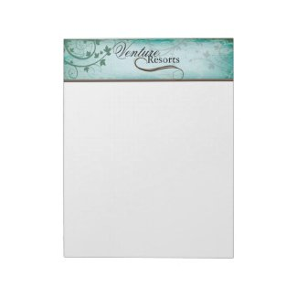 Vintage Texture Teal Note Paper with Leafy Swirls Note Pads