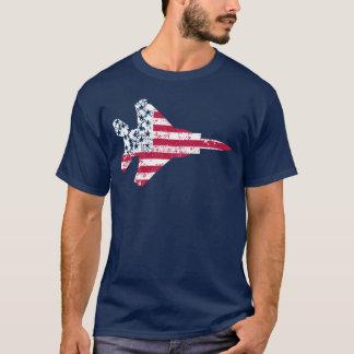 Vintage Textured American Flag Strike Eagle T-Shirt