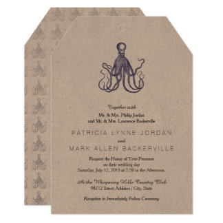 Vintage Textured Octopus Card
