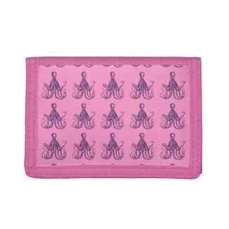 Vintage Textured Octopus Tri-fold Wallets