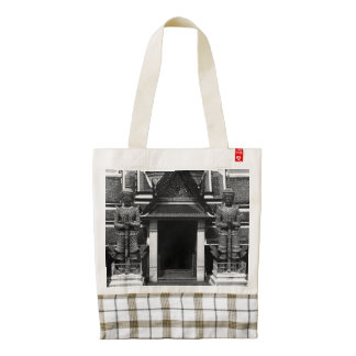 Vintage Thailand Bangkok Wat Phra Kaew Demon Guard Zazzle HEART Tote Bag