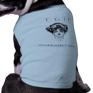 Vintage Thank God I'm Fabulous Doggie Tank Top Dog Tshirt