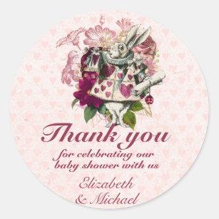 Personalized Alice In Wonderland Bridal Shower Labels Drink Me Round Glossy Designer Stickers