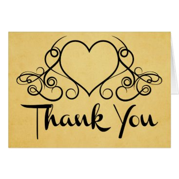 Professional Business Vintage Thank You Black And Gold Love Heart Card