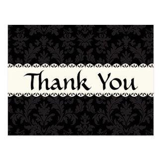 Vintage Thank You Black and Gray Damask Floral Postcard