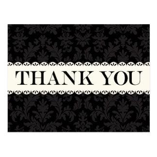 Vintage Thank You Black & Gray Damask White Lace Postcard