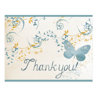 Vintage Thank You Butterfly Blue Gold Gray Floral Postcard