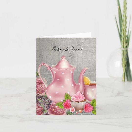 vintage thank you card tea pink flowers zazzle com