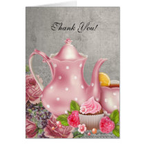 Vintage Thank You Card Tea Pink Flowers