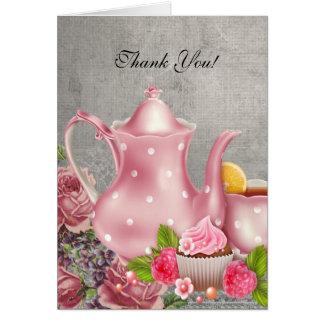 Vintage Thank You Card Tea Pink Flowers