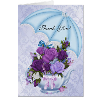 Vintage Thank You Card White Blue Purple Flowers