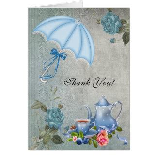 Vintage Thank You Card White Blue Tea Flowers