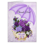 Vintage Thank You Card White Lilac Purple Flowers